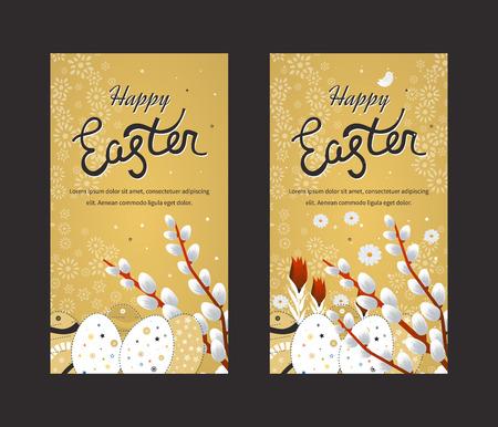 Tarjeta de Pascua feliz con los huevos. invitación de Pascua. Conjunto de Pascua diseño del huevo. Día de Pascua. Domingo de Pascua. Arte Pascua. Ilustración de Pascua feliz para la tarjeta de felicitación, carteles, bandera. tarjeta de felicitación y Negro Oro