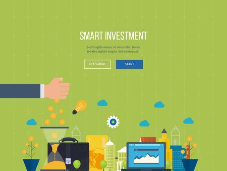 planeación estrategica: línea concepto de diseño plano para la inversión inteligente, finanzas, banca, análisis de datos de mercado, gestión estratégica, planificación financiera. Diagrama del asunto de la carta del gráfico. Crecimiento de la inversión. Inversión en propiedades Vectores