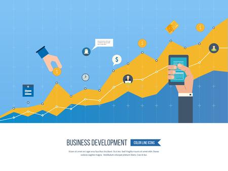 Zakelijke ontwikkeling. Strategie van succesvolle bedrijfsontwikkeling. Financieel verslag en strategie. Business diagram grafiek grafiek. Investeringsgroei. Beleggingsactiviteiten. Vector Illustratie