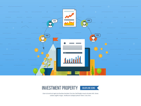 property investment: Property investment. Business diagram graph chart. Investment growth. Investment business. Investment management. Financial strategy.  Smart investment, finance, banking, strategic management concept Illustration