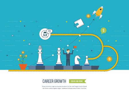 successful: Career growth, selecting candidates, career ladder.  Financial strategy concept. Business development, strategic management, finance, banking, market data analytics concept. Strategy for successful business. Illustration