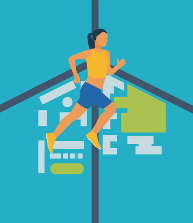 joggers: Running woman. Modern flat vector icons of healthy lifestyle, fitness and physical activity. Healthy lifestyle and fitness concept. Illustration