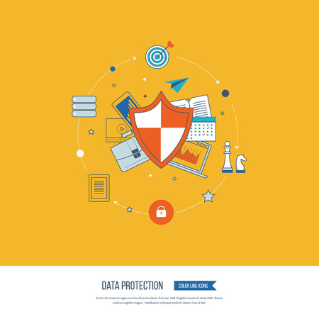 data line: Flat shield icon. Data protection concept. Social network security. Investment security. Successful business strategy Color line icons