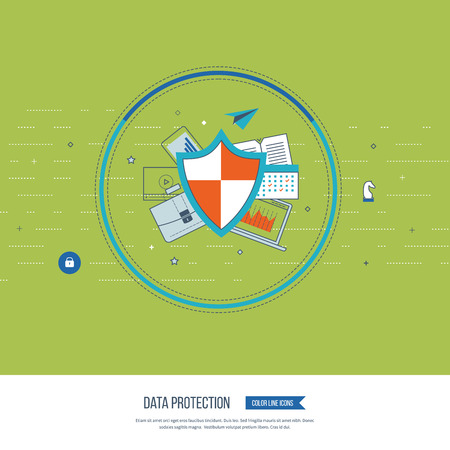 investment security: Flat shield icon. Data protection concept. Social network security. Investment security. Successful business strategy Color line icons
