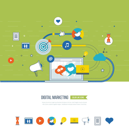 Communication strategy: Digital marketing and social network concept for web and infographic. Teamwork and communication. Social media concept. Marketing strategy. Marketing plan