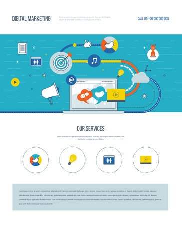 internet marketing: One page web design template with color line icons of digital marketing and social network. Teamwork and communication. Social media. Marketing strategy. Website elements layout.