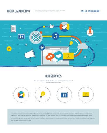 Una página de la plantilla de diseño web con iconos de líneas de color del marketing digital y la red social. El trabajo en equipo y la comunicación. Medios de comunicación social. Estrategia de mercadeo. elementos del sitio web de disposición.