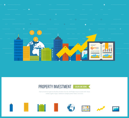 investment: Flat design illustration concepts for business analysis and planning strategy, financial report. Business diagram graph chart. Investment growth. Investment business. Property investment.