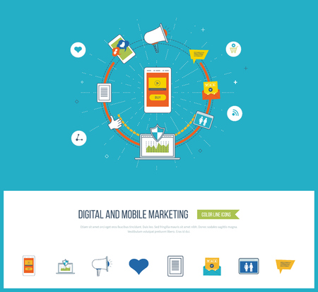 Digital and mobile marketing concept. Digital marketing icons. Social network. Investment management. Data protection. Flat shield icon. Investment growth. Strategy for successful business.