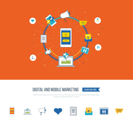 mobile marketing: Digital and mobile marketing concept. Digital marketing icons. Social network. Investment management. Data protection. Flat shield icon. Investment growth. Strategy for successful business.
