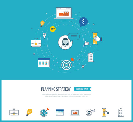strategic planning: Strategy planning and marketing strategy concept. Investment growth. Investment management. Planning process. Planning meeting. Color icons for data analysis, strategic planning, successful business. Illustration