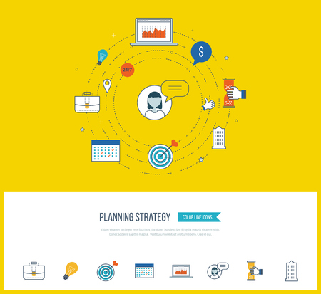 strategy meeting: Strategy planning and marketing strategy concept. Investment growth. Investment management. Planning process. Planning meeting. Color icons for data analysis, strategic planning, successful business. Illustration
