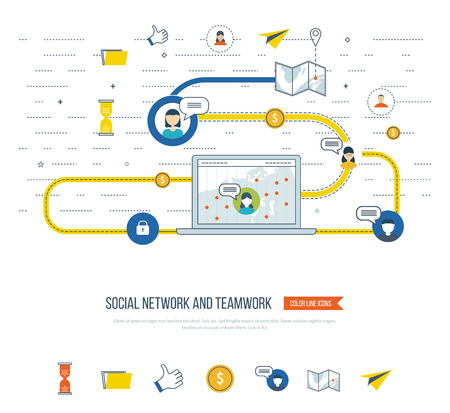 social worker: Social network and teamwork concept. Teamwork and communication. Social worker. Data protection and safe work. Social media concept.  Investment growth.  Investment management. Strategy planning icons