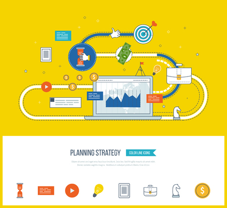 strategy meeting: Planning strategy and marketing strategy concept. Investment growth. Investment management. Planning process. Planning meeting. Planning strategy icons vector. Planning strategy vector isolated