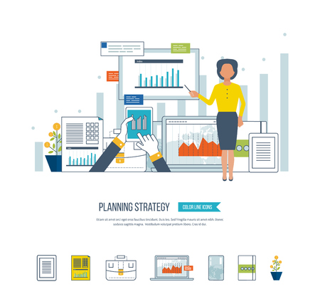 strategic management: Concept for project and strategic management, strategy planning, financial report, education.  Investment growth. Planning process. Planning meeting. Investment business. Illustration