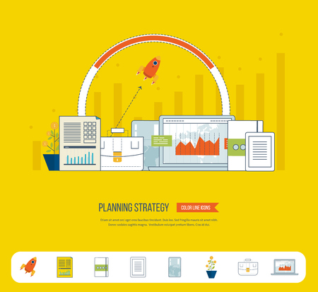 strategy meeting: Planning strategy, financial strategy, project management concept. Investment growth. Investment management. Planning process. Planning meeting. Planning strategy icons vector.  Investment business. Illustration