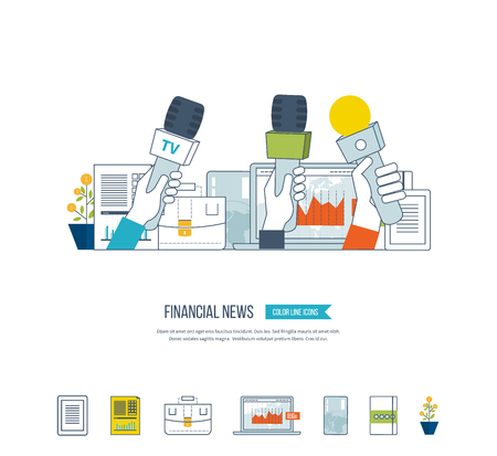 online news: Financial news and strategy, planning strategy concept. Press conference and live news. Planning process. Financial news icons vector. Investment growth. Investment management. Illustration