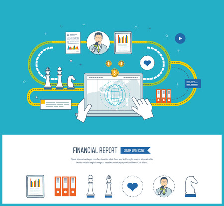 financial report: Concepts for business analysis and planning, financial strategy and report, consulting, teamwork, project management. Investment business. Financial report icons isolated. Financial report concept.