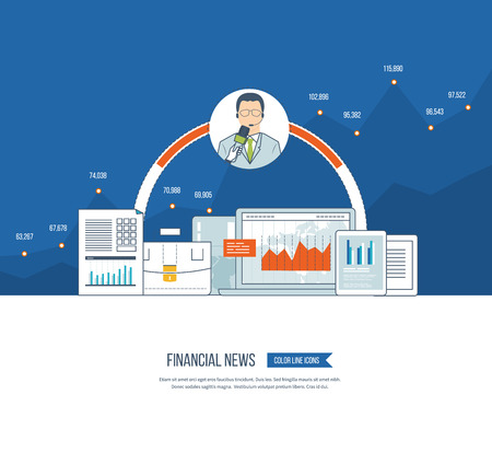 press conference: Financial news and strategy, planning strategy concept. Press conference and live news. Planning process. Financial news icons vector. Investment growth. Investment management. Financial report Illustration