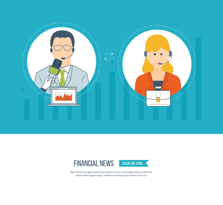 helper: Business customer care service concept flat icons. Feedback. Technical support assistant. Social network and teamwork concept for web and infographic. Press conference and live news. Illustration