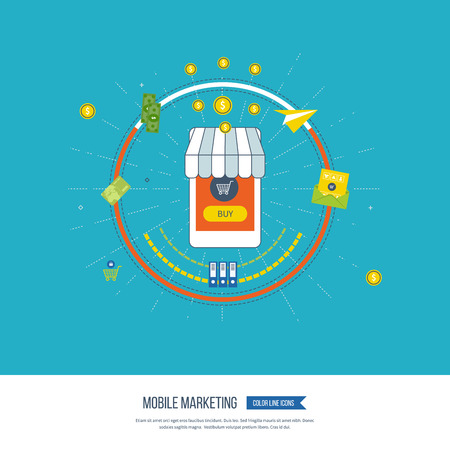 mobile marketing: Digital and mobile marketing concept. Social network. Email marketing. Social marketing. Digital marketing icons. Invest money. Mobile marketing vector icons isolated. Online shopping