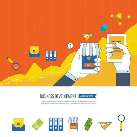 financial growth: Flat design illustration concepts for business development and planning, teamwork, financial report and strategy. Business development vector. Investment business. Investment growth. Investment management. Illustration