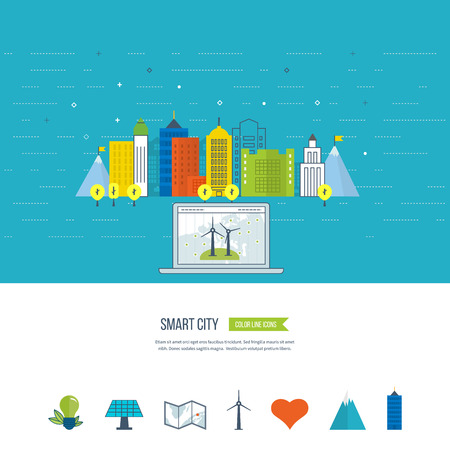 green city: Green eco city, ecology and eco-friendly city concept. Smart city. City buiding and urban landscape. Color line icons Illustration