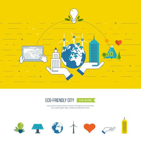 ecosistema: Eco verde de la ciudad, la ecología y el concepto ecológico de la ciudad. Ciudad inteligente. buiding de la ciudad y el paisaje urbano. iconos de líneas de color Vectores
