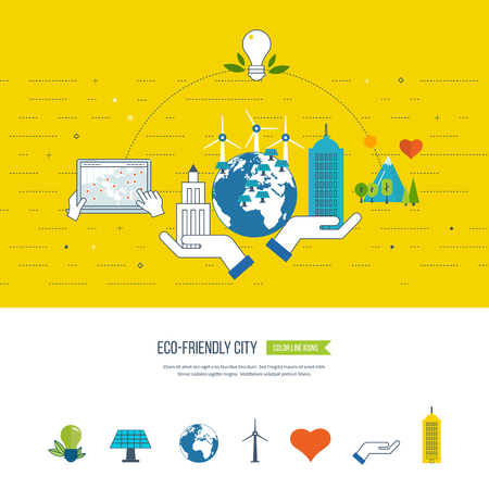 ecosystems: Green eco city, ecology and eco-friendly city concept. Smart city. City buiding and urban landscape. Color line icons Illustration