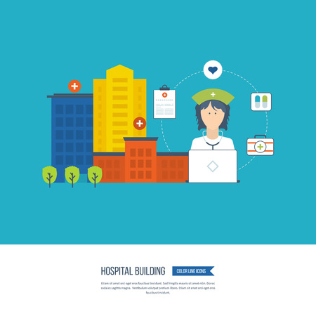 medical center: Vector illustration concept for healthcare, medical help and research. Medical first aid. Hospital building and medical center. Ambulance.