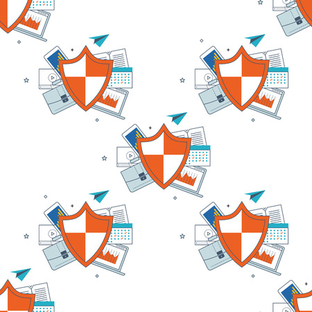 investment security: Shield icon seamless pattern. Data protection concept. Social network and investment security.