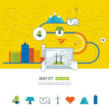 grün: Green eco Stadt, Ökologie und umweltfreundliche Stadt-Konzept. Smart City. Stadt buiding und Stadtlandschaft. Farbe Linie Symbole Illustration