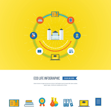 proposes: Flat design modern vector illustration icons set of online education and e-learning. Online course from universities and colleges proposes video-on-demand, forum, communication. Color line icons Illustration