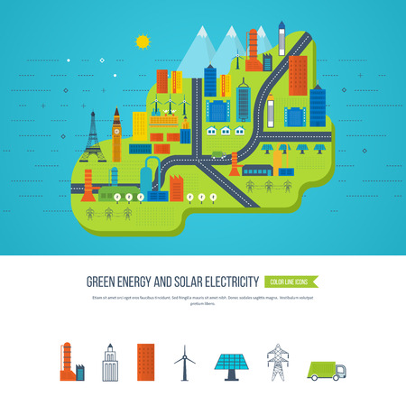 green buildings: Flat green energy, ecology, eco, clean planet, urban landscape and industrial factory buildings concept vector icon banners template set. Infographic energy template design