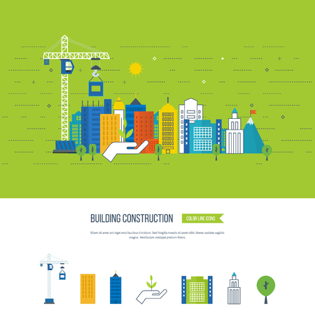 live work city: Flat design vector concept illustration with icons of building construction and urban landscape. Real estate concept illustration. Cityscape background. Color line icons
