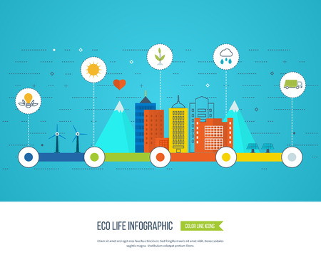 ecosystems: Green eco city and eco life infographic. Modern energy safety. Ecology concept