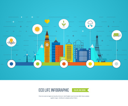 ecological: Green eco city and eco life infographic. Modern energy safety. Ecology concept