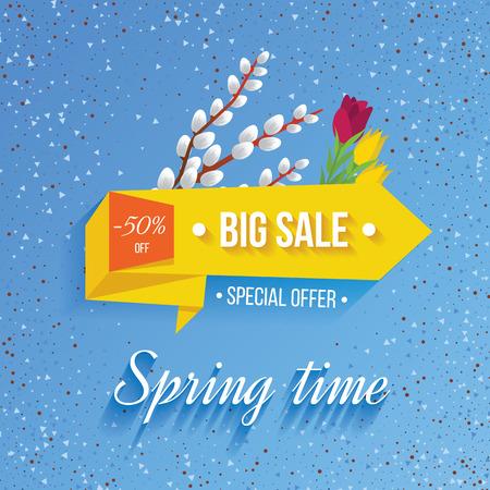 big sale: Big Sale banner on a spring background. Big Sale and special offer. Vector illustration.