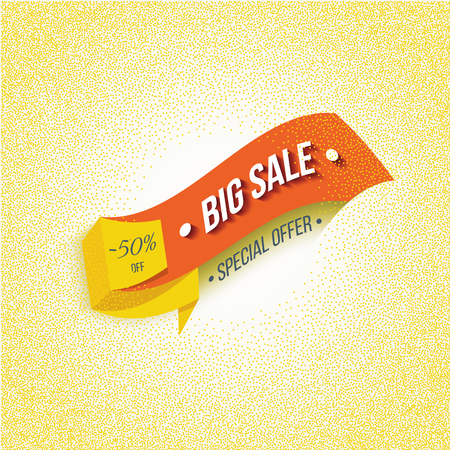 big sale: Big Sale banner on a yellow background. Big Sale and special offer. Vector illustration.