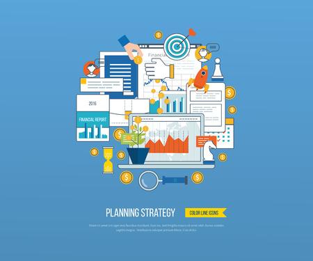 Conceptos para el análisis de negocios y planificación, la estrategia financiera e informe, consultoría, trabajo en equipo, gestión de proyectos. negocio de inversión. Ilustración de vector