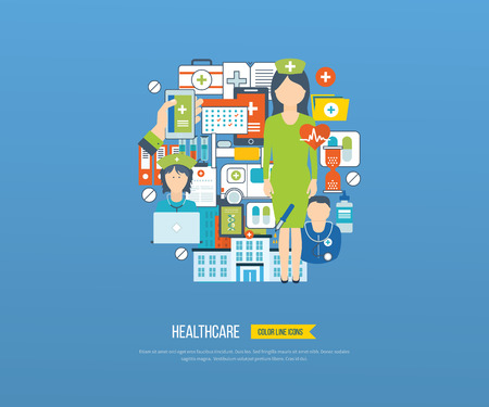 healthcare worker: Vector illustration concept for healthcare, medical help and research. Online medical diagnosis and treatment. Medical first aid. Healthcare worker.  Hospital building