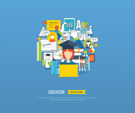 courses: Flat design modern vector illustration icons set of distance education, e-learning, courses and training. All elements are presented as circle