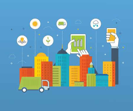 ecosistema: ciudad verde ecológico y infografía vida ecológica. la seguridad de la energía moderna. Limpia planeta y el paisaje urbano. Ciudad inteligente. Concepto de la ecología.