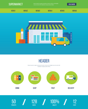 opening hours: Supermarket store concept with food assortment, opening hours and payment options, delivery icons illustration vector. One page web design template