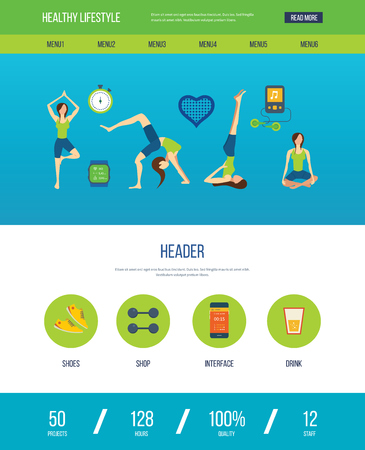 aerobics class: Modern flat vector icons of healthy lifestyle, fitness and physical activity. Yoga classes. Wellness icons for website and mobile application. One page web design template