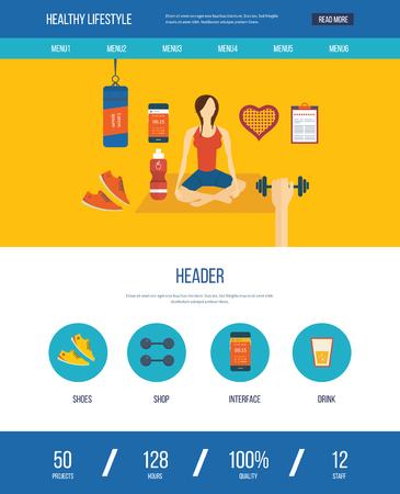 actividad fisica: iconos vectoriales plana modernos de estilo de vida saludable, la aptitud y la actividad física. Las clases de yoga. iconos de bienestar para el sitio web y aplicaciones móviles. Una página de la plantilla de diseño web Vectores