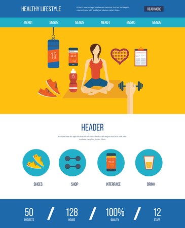physical activity: Modern flat vector icons of healthy lifestyle, fitness and physical activity. Yoga classes. Wellness icons for website and mobile application. One page web design template
