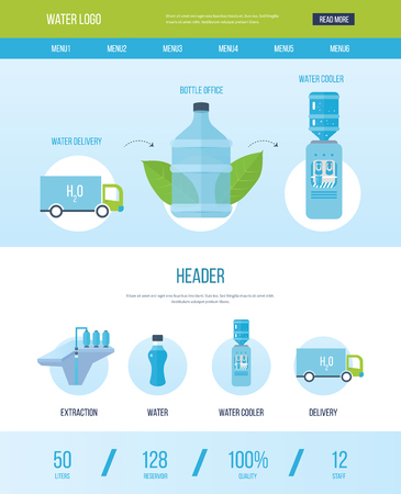 hot water bottle: One page web design template with icons of water bottle office. Bottle office, plastic and liquid. Water cooler, extraction and delivery. Vector illustration Illustration