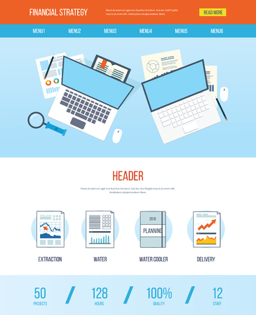 One page web design template with icons of analyzing project, financial strategy and report, financial analytics, market research, teamwork and planning documents