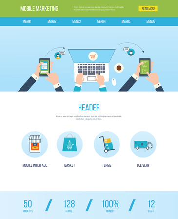 one on one meeting: One page web design template with icons of mobile marketing. Concept of teamwork analyzing project on business meeting, teamwork, online shopping